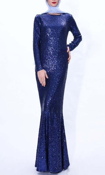 Sequin Shine Mermaid Abaya dress(Royal Blue) - *Size Up* - EastEssence.com