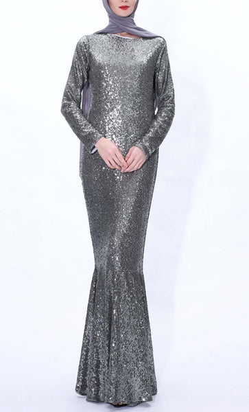 Sequin Shine Mermaid Abaya dress(Silver Grey) - *Size Up* - EastEssence.com
