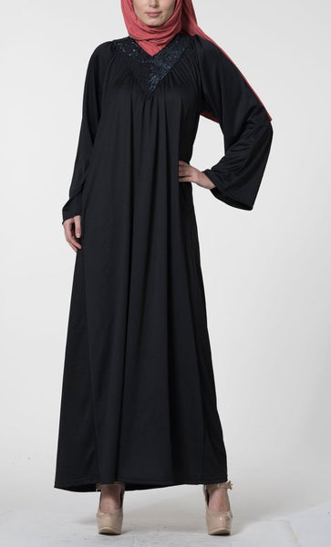 Sequinned neckline flared abaya dress - EastEssence.com