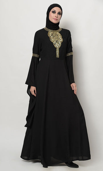 Sequins And Beads Embroidered Trumpet Sleeves Abaya Dress - EastEssence.com