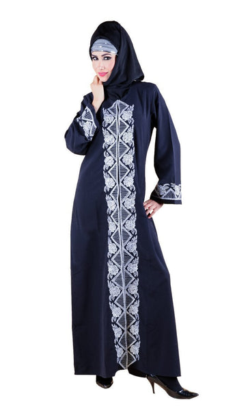 Sequins and chain stitch embroidered embroidered A line abaya dress - EastEssence.com