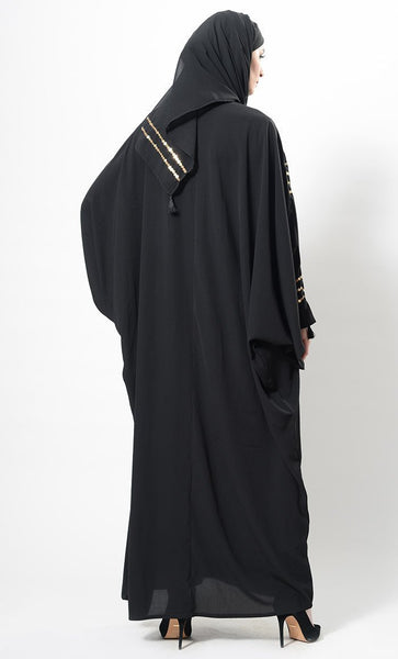 Sequins Embroidered And Thread Fringes Abaya Dress And Hijab Set - EastEssence.com
