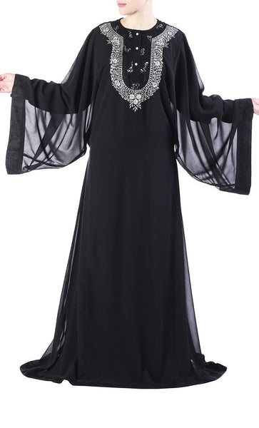 Sequins embroidered neckline and pearl buttoned flared abaya dress - EastEssence.com