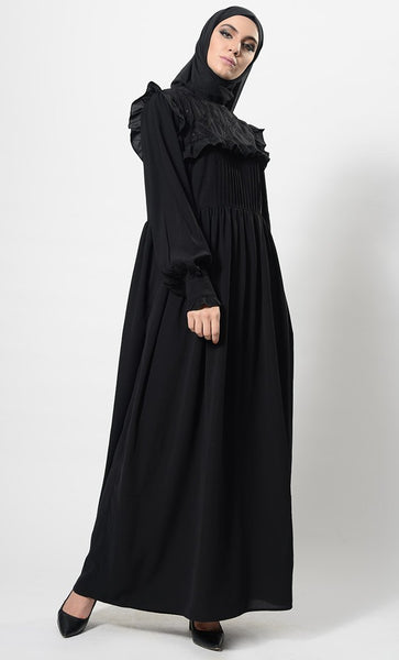 Sequins Sculpted And Frilled Abaya Dress And Hijab Set - EastEssence.com