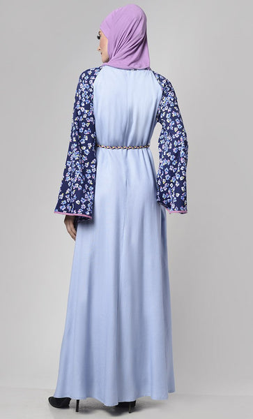 Serenity Multi Buttons-Down Abaya With Braided Belt - EastEssence.com