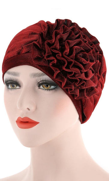 Set of 2 Cute Flower Bonnet - Wine Red/Dark Grey - *Size Up* - EastEssence.com