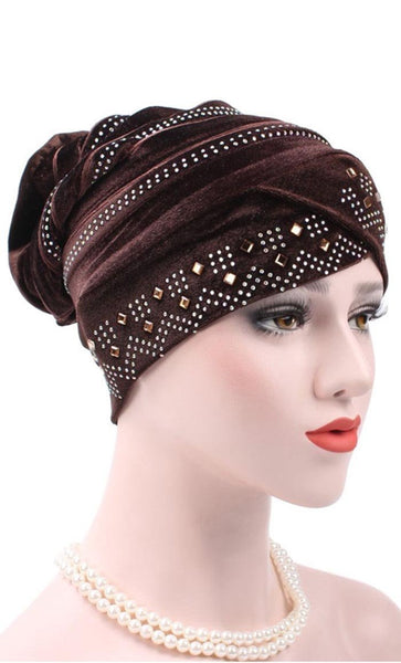 Set of 2 Embellished Velvet Bonnet - Dark Coffee/Gold - *Size Up* - EastEssence.com