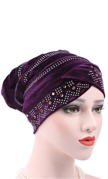 Set of 2 Embellished Velvet Bonnet - Green/Dark Purple - *Size Up* - EastEssence.com