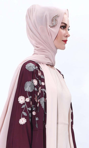 Set of 3 crystal leaf decorate hijab - EastEssence.com