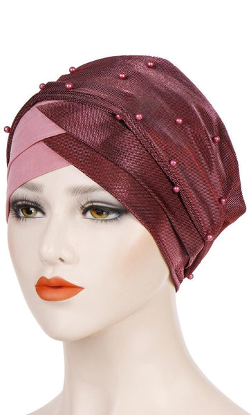 Set of 3 Pearled Up Bonnet - Black/Red Coffee/Pink - *Size Up* - EastEssence.com