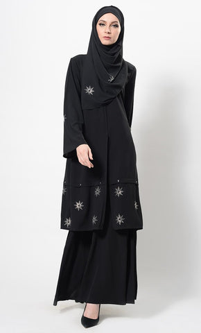Shining Star Embroidered Two Piece Set With Hijab - EastEssence.com
