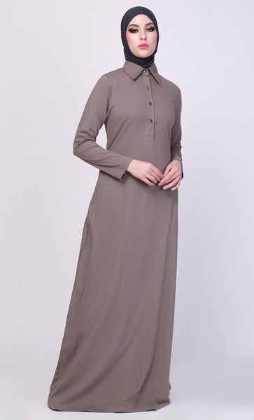 Shirt Style Collared Casual Wear Abaya Dress - EastEssence.com