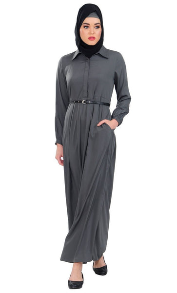 Shirt Style Fit And Flared Abaya Dress With Leather Waistbelt - EastEssence.com