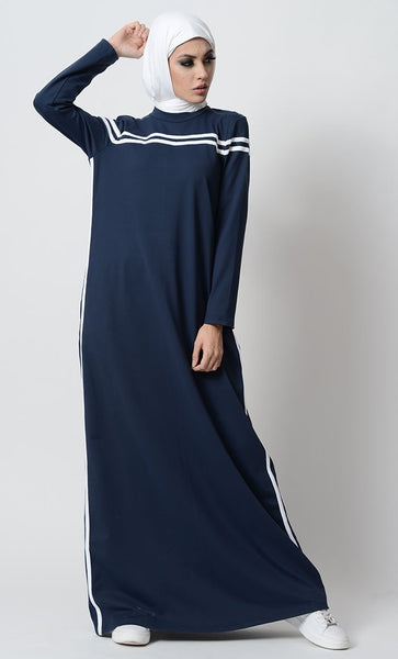 Side Strips Sportwsear Abaya Dress - EastEssence.com