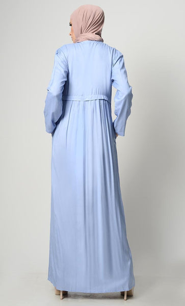 Simly Grace Waist Pleated Gathered Abaya - EastEssence.com