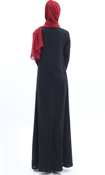 Simple and Casual Abaya - Black - *Size Up* - EastEssence.com