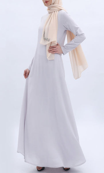 Simple and Casual Abaya - Light Gray - *Size Up* - EastEssence.com
