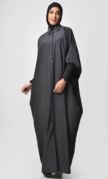 Simple and Chic Ruched Sleeve Kaftan - EastEssence.com
