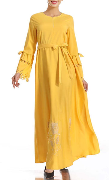 Simple and classy Abaya Dress (Yellow) *Size Up* - EastEssence.com