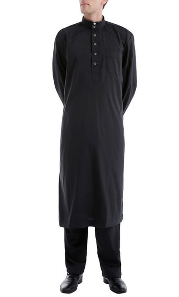 Simple and Classy Full Sleeves Men's Kurta Set (Black)-*Size Up* - EastEssence.com