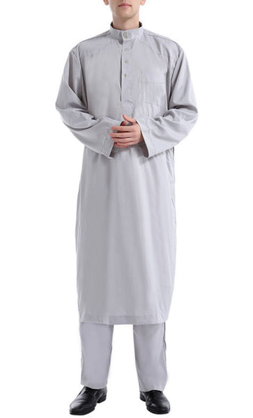 Simple and Classy Full Sleeves Men's Kurta Set (Grey)-*Size Up* - EastEssence.com