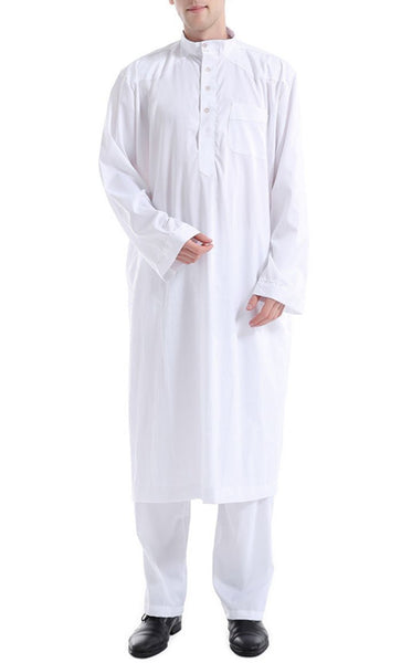Simple and Classy Full Sleeves Men's Kurta Set (White)-*Size Up* - EastEssence.com