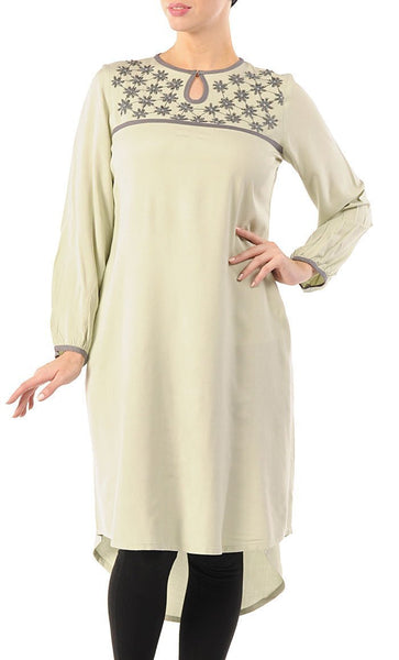 Simple and Elegant Embroidered Long Rayon Tunic - EastEssence.com