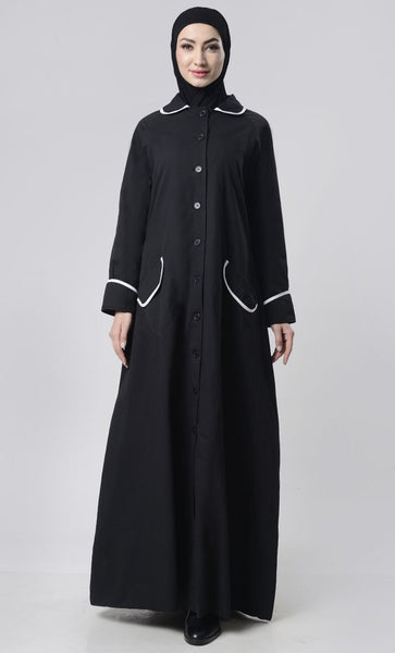 Simple Collar Twil Lined Jacket - EastEssence.com