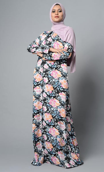 Simple Everyday Floral Flared Abaya Dress - EastEssence.com