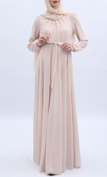 Simple Neck Pleated Abaya - Cream - *Size Up* - EastEssence.com