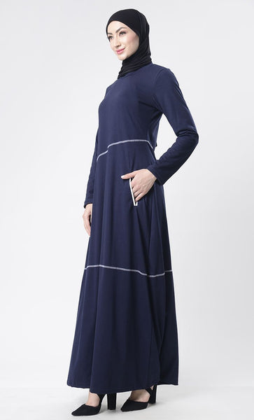 Simple Top Stitch Detailed Abaya With Pockets - EastEssence.com