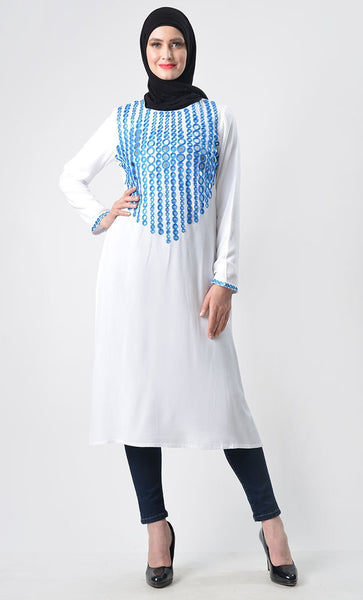 Sky Color Embroidered Tunic - EastEssence.com