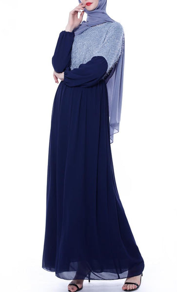 Sky Duo Colorblock Casual Abaya - Navy - *Size Up* - EastEssence.com