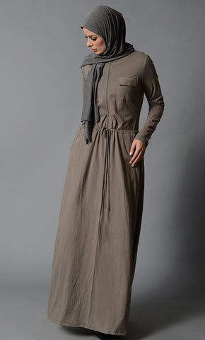 Slip on drawstring and button down detail abaya dress - EastEssence.com