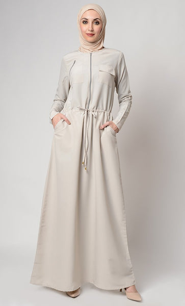 Slip On Drawstring And Zipper Detail Abaya Dress - EastEssence.com