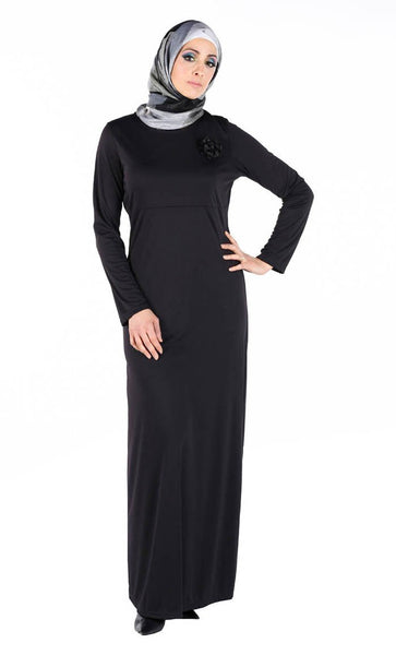 Slip on Knit Basic Dress Abaya - EastEssence.com