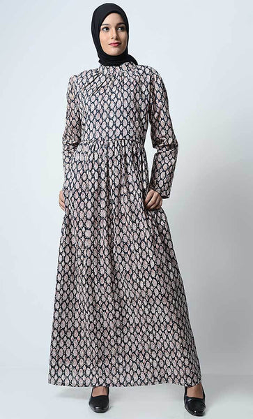Small Paisley Printed Abaya - EastEssence.com