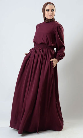 Smocking Detail Bishop Sleeves Gown Style Abaya Dress - EastEssence.com