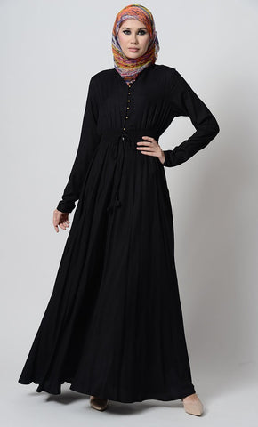 Smocking waistline and loop buttons detail casual abaya dress - EastEssence.com