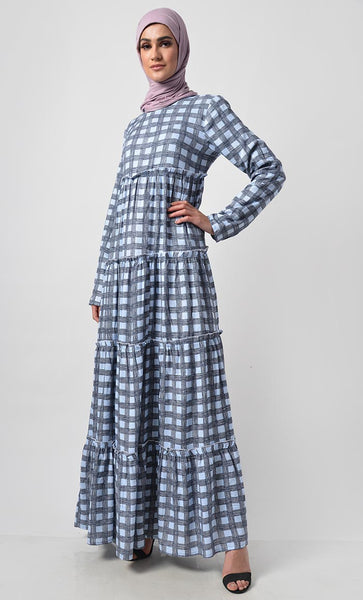 Soft Cotton Checkered Printed Abaya Dress - EastEssence.com