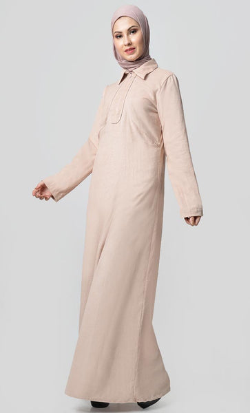 Solid Abaya With Button Detail - Cream - EastEssence.com