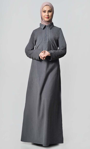 Solid Abaya With Button Detail - Grey - EastEssence.com