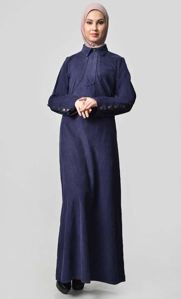 Solid Abaya With Button Detail - Navy - EastEssence.com
