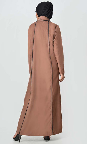 Solid Abaya With Princess Seam Detail - Brown - EastEssence.com