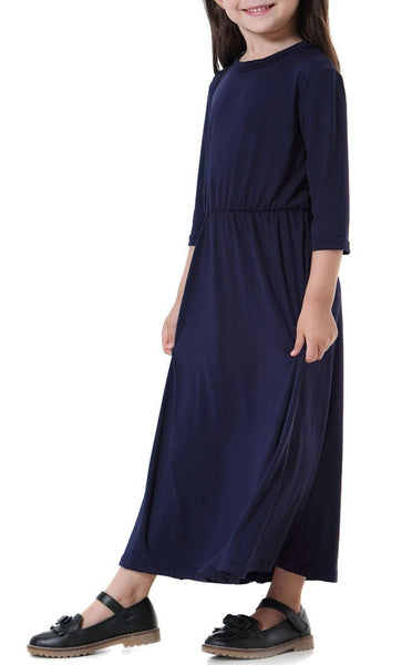 Solid Basic Everyday Girls Abaya (Navy Blue)-*Size Up* - EastEssence.com