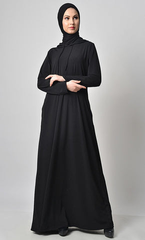 Solid Jersey Hooded Everyday Abaya - EastEssence.com