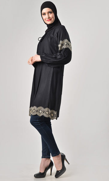 Solid Thread Embroidered Tunic - EastEssence.com