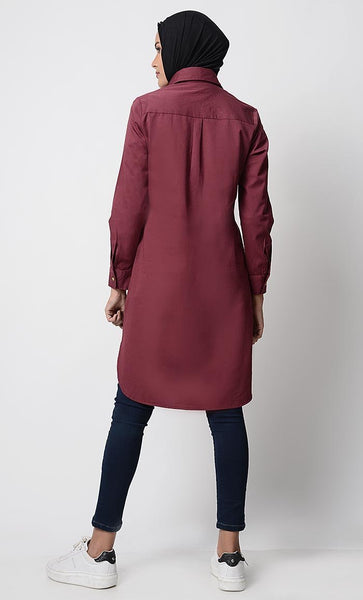 Solid Twill Regular Tunic - EastEssence.com