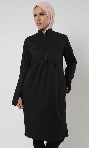 Split Cuff Designer Tunic - Black - EastEssence.com