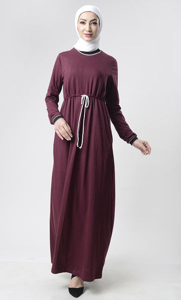 Sports drawstring Abaya With Pockets - EastEssence.com